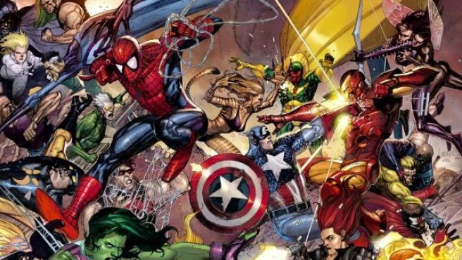 Portada del cómic 'Civil War', que enfrenta a los superhéroes de Marvel en una guerra interna.