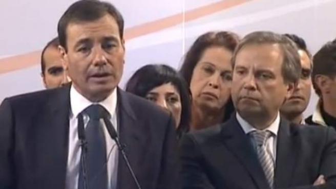 Tomás Gómez, durante la rueda de prensa en Callao.