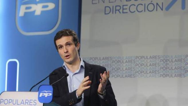 El portavoz del Comité de Campaña del Partido Popular, Pablo Casado.