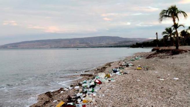 Fotografía cedida por la Universidad de Georgia que muestra desperdicios de plástico en una playa de Haití.