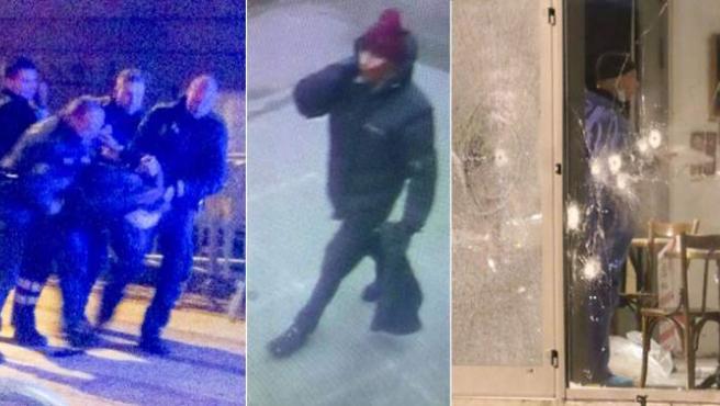 Diferentes secuencias de los tiroteos en Copenhague, con el sospechoso en el centro.