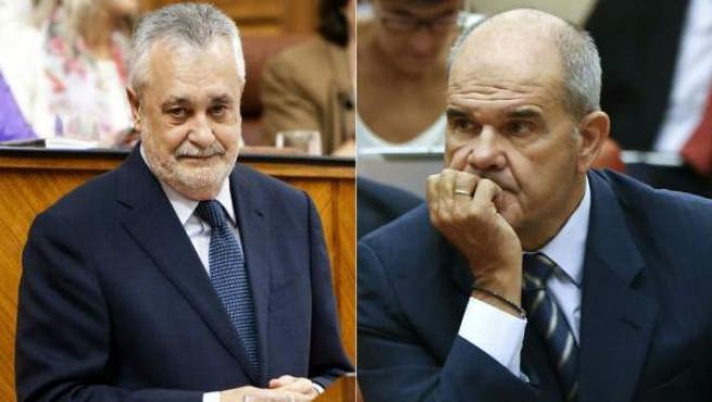 Combo de imágenes de los expresidentes de la Junta de Andalucía José Antonio Griñán y Manuel Chaves.