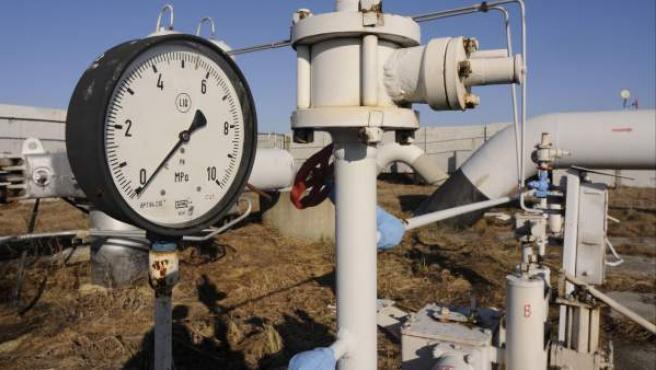 Un manómetro de gas de un gasoducto principal de Rusia en el pueblo de Boyarka, cerca de Kiev.
