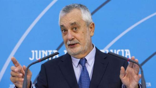 José Antonio Griñán, durante su comparecencia para explicar su salida de la Presidencia.