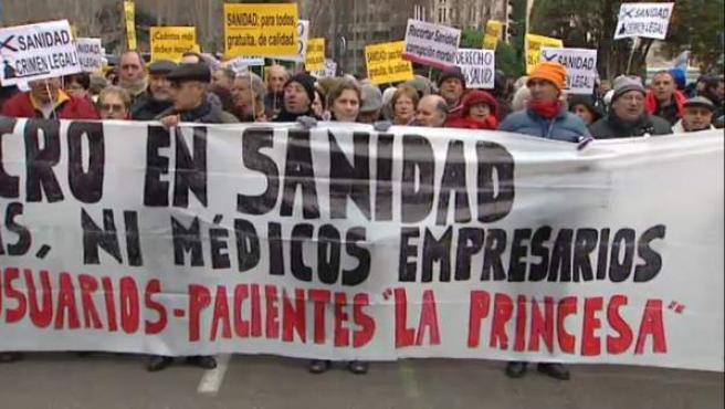 Manifestación de los afectados por la hepatitis C.