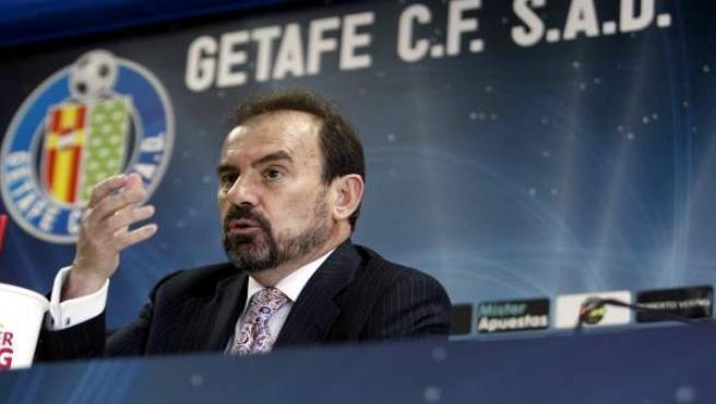 Ángel Torres, presidente del Getafe, en rueda de prensa.