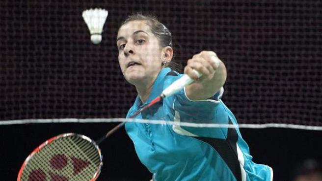 La jugadora de bádminton Carolina Marín, en un partido de la Copa del Mundo de esta disciplina.