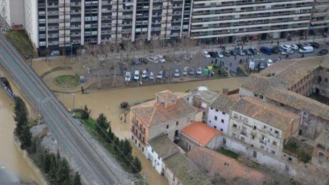 Imagen de la inundación en Tudela.