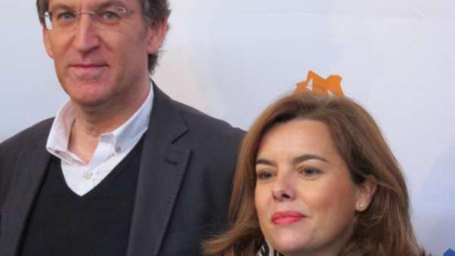 Alberto Núñez Feijóo y Soraya Sáenz de Santamaría en la Convención del PPdeG