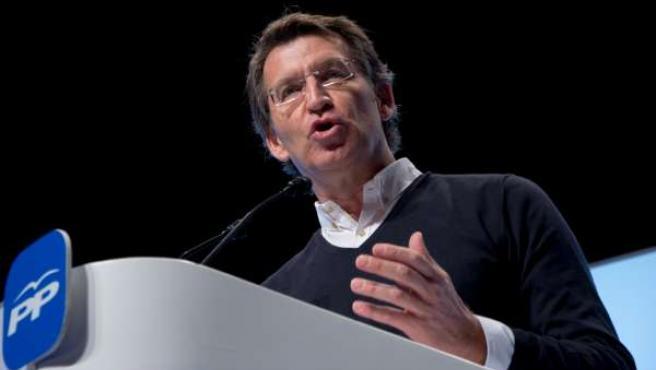 El presidente do PPdeG, Alberto Núñez Feijóo, en la clausura de la convención