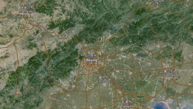 Vista vía satélite de la capital de China, Pekín.