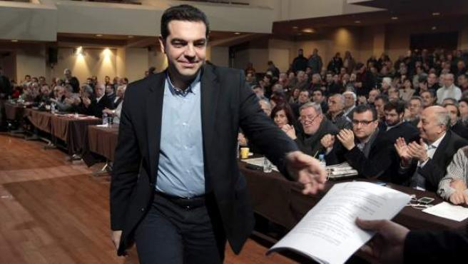 El primer ministro griego, Alexis Tsipras, durante la reunión del comité central de su partido, Syriza.