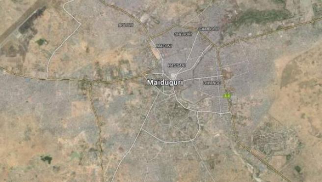 Imagen vía satélite de la localidad nigeriana de Maiduguri.