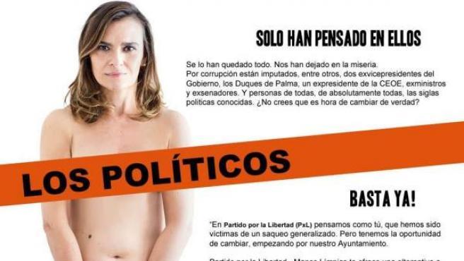 """La candidata a la alcaldía de Portugalete del Partido por la Libertad-Manos Limpias (PxL), Yolanda Couceiro Morín, aparece parcialmente desnuda en un cartel de precampaña para denunciar la corrupción y pedir """"manos limpias""""."""