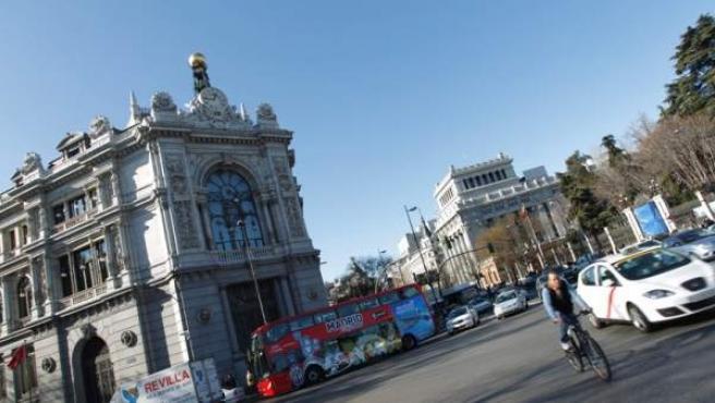 Fachada del edificio del Banco de España, en Madrid.