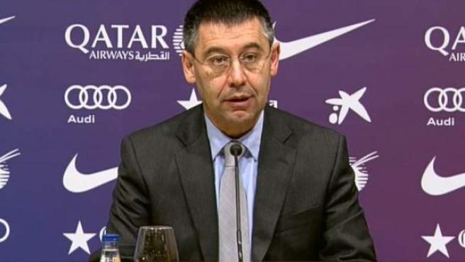Josep María Bartomeu, presidente del FC Barcelona, en rueda de prensa.
