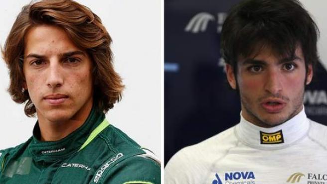Los dos nuevos pilotos españoles en la F1, Roberto Merhi (izda.) y Carlos Sainz Jr.