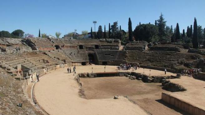 Imagen del anfiteatro romano de Mérida.