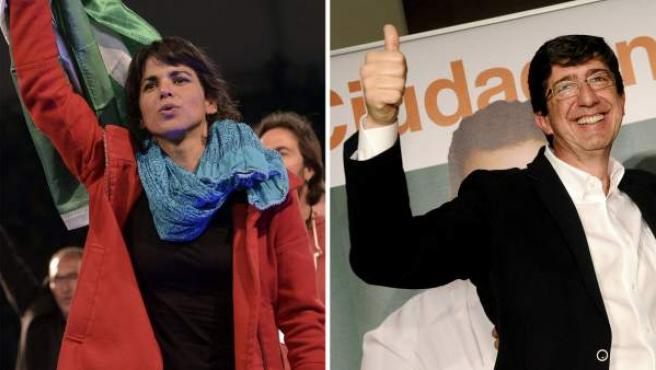 Teresa Rodríguez, candidata a la Junta de Andalucía de Podemos, junto a una imagen de Juan Marín, de Ciudadanos.