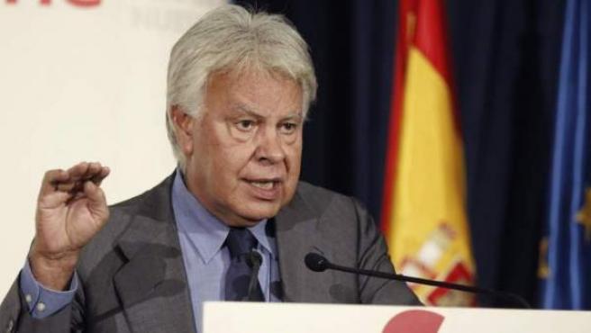 El expresidente del Gobierno Felipe González, durante un desayuno informativo, en Madrid.