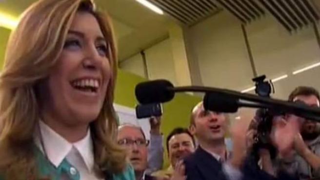 Susana Díaz, candidata a la Junta de Andalucía por el PSOE, tras conocerse su victoria en las elecciones.