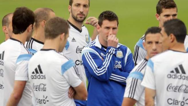 Leo Messi, durante un entrenamiento de la selección argentina.