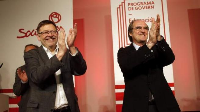 El candidato socialista a la Comunidad de Madrid, Ángel Gabilondo (d), y el candidato a la Generalitat Valenciana, Ximo Puig, saludan al inicio de la jornada del PSPV-PSOE para elaborar el programa electoral en materia de Educación.