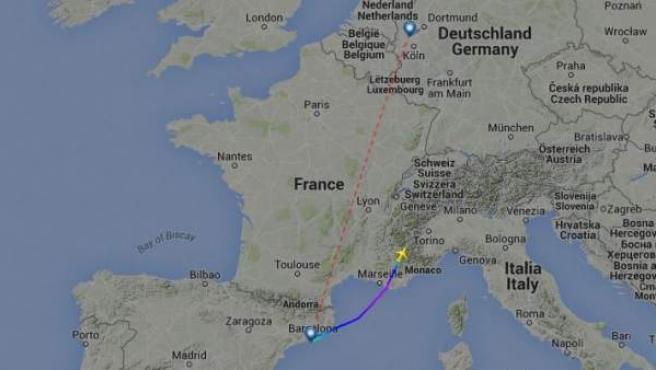 Trayectoria del A320 procedente de Barcelona y con destino Dusseldorf, siniestrado en los Alpes franceses.