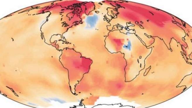 Tendencia de la temperatura lineal de la superficie terrestre desde el año 1901.