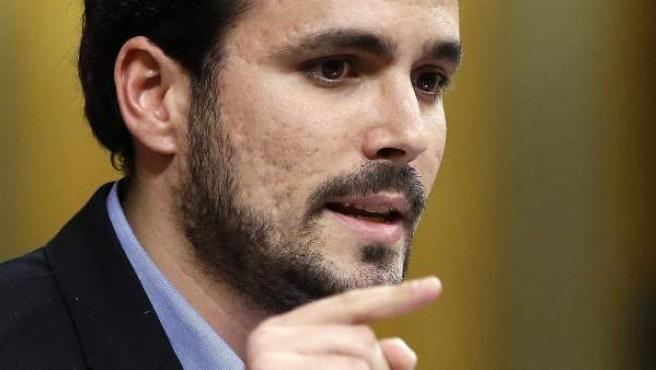 El candidato de IU a la Presidencia del Gobierno, Alberto Garzón, durante su intervención en la sesión de tarde de la primera jornada del vigésimo quinto debate del estado de la nación.