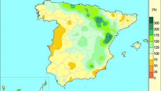 Balance de lluvias entre octubre de 2014 y marzo de 2015