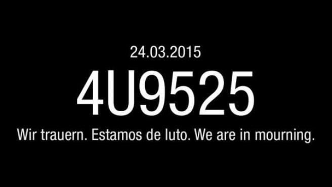 Mensaje publicado por Germanwings en Twitter tras el accidente en los Alpes.