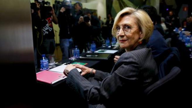 Rosa Díez, dirigente de UPyD, durante la reunión del Consejo Político extraordinario.