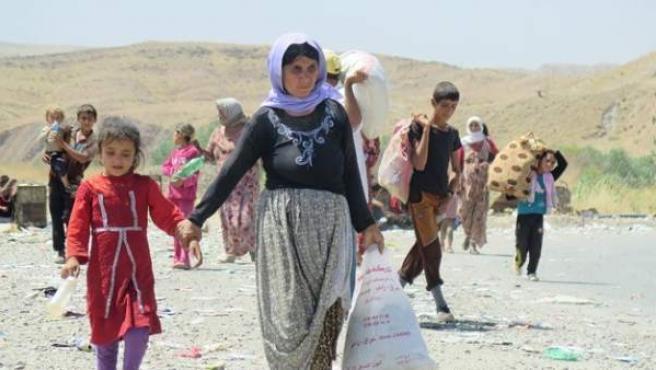Refugiados yezadíes huyendo del Estado Islámico en Irak.