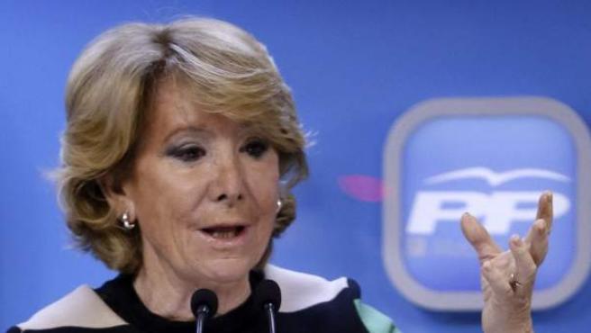 La candidata del PP al Ayuntamiento de Madrid, durante la rueda de prensa posterior a la reunión del Comité de Dirección del PP madrileño.