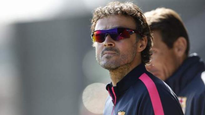 Luis Enrique en el entrenamiento del FC Barcelona.