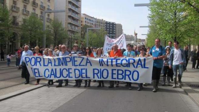 Afectados por las crecidas del Ebro exigen la limpieza del cauce.