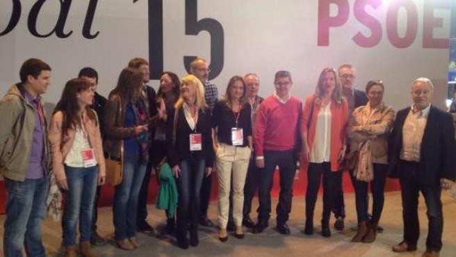 Parte de la delegación aragonesa en la conferencia municipal del PSOE.