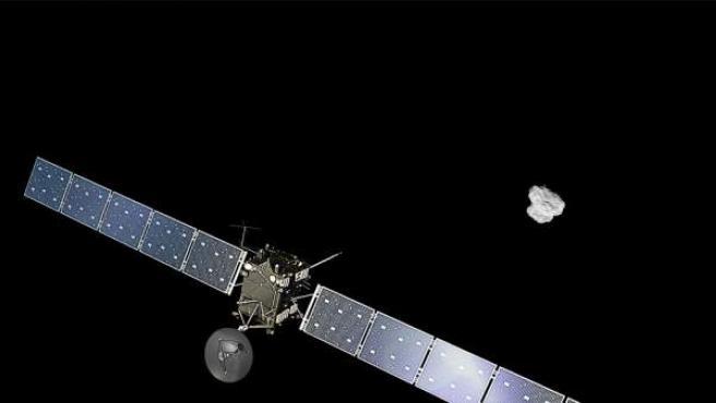 Una imagen generada por ordenador de la sonda Rosetta siguiendo al cometa 67-P.