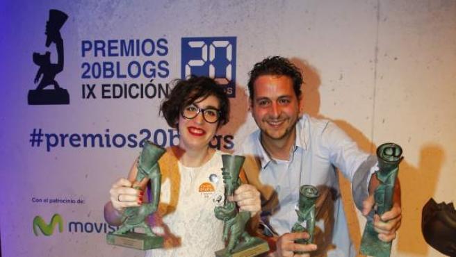 Paula Bornachea y Toni Jardón, grandes triunfadores en la IX edición de los Premios 20Blogs.