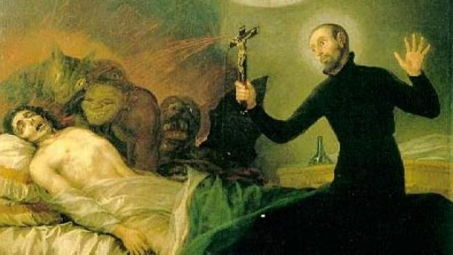 San Francisco de Borja realizando un exorcismo en un cuadro de Goya.