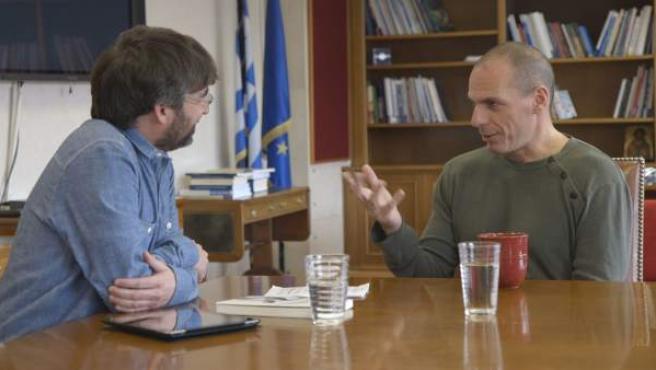 Jordi Évole entrevista al Ministro de Finanzas griego Yanis Varufakis en su programa 'Salvados'.