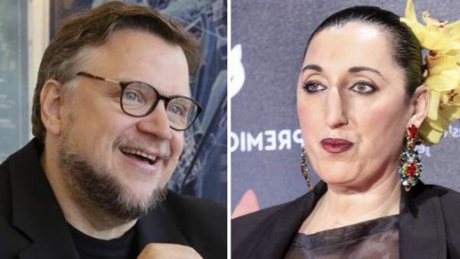 El director, guionista y productor mexicano Guillermo del Toro y la actriz española Rossy de Palma.