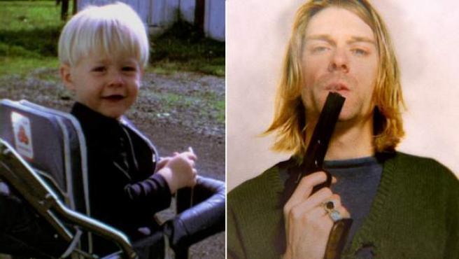 Kurt Cobain, de niño y adulto, en dos instantáneas mostradas por el documental 'Montage of heck'.