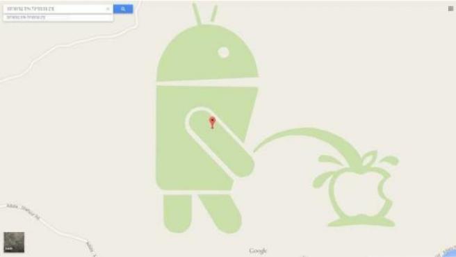 El logotipo de Android, orinando sobre el de Apple en Google Maps.