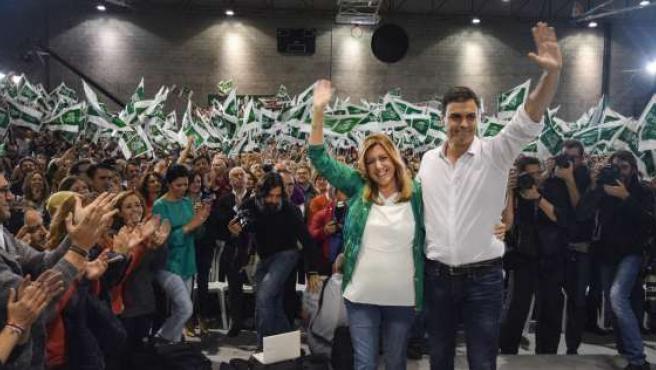 Susana Díaz y Pedro Sánchez, en el cierre de campaña