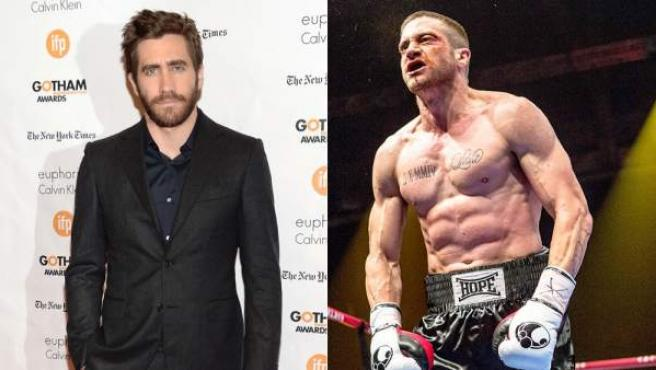 Jake Gyllenhaal, en una imagen reciente y un fotograma de 'Southpaw'.