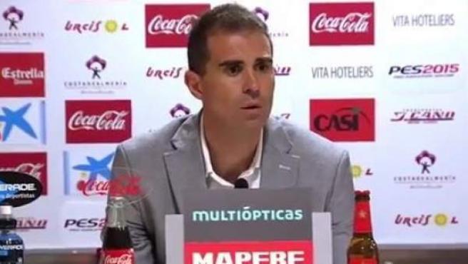 El entrenador del Eibar, Gaizka Garitano, en la rueda de prensa tras el Almería-Eibar de Liga.