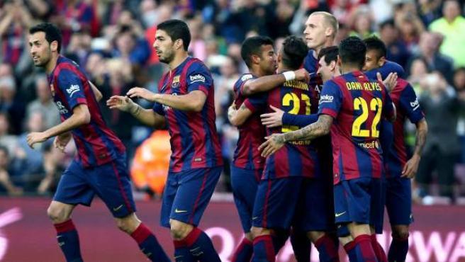 Los jugadores del Barça celebran uno de los goles ante el Getafe.