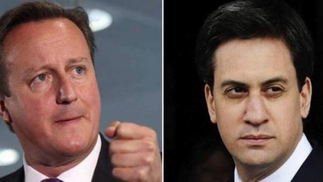 De izquierda a derecha: David Cameron (partido conservador) y Ed Miliband (laborista).